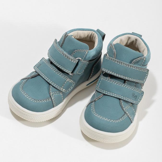 Detské modré tenisky z brúsenej kože bubblegummers, modrá, 116-9634 - 16
