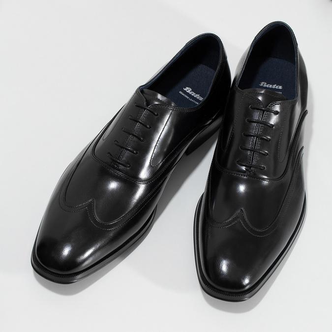 Pánske čierne kožené Oxford poltopánky bata, čierna, 824-6878 - 16