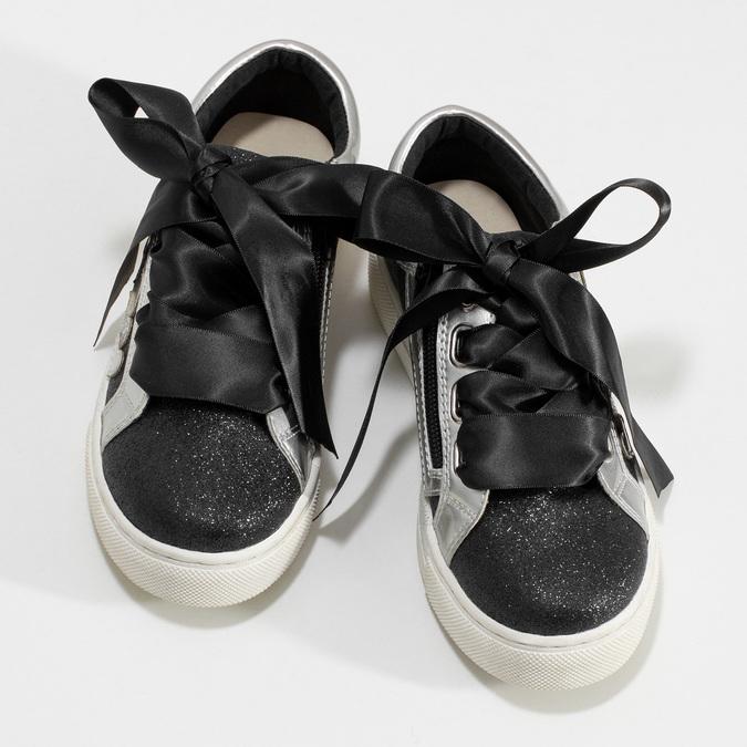 Detské tenisky so striebornými detailami mini-b, čierna, 321-6372 - 16