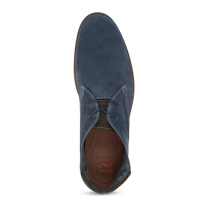 Tmavomodrá pánska kožená Desert Boots obuv flexible, modrá, 823-9636 - 17