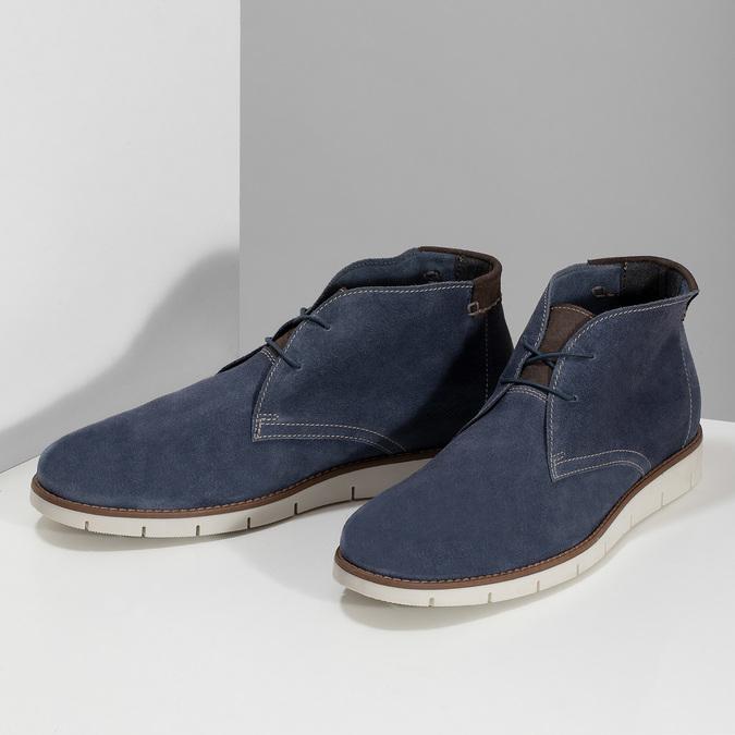 Tmavomodrá pánska kožená Desert Boots obuv flexible, modrá, 823-9636 - 16