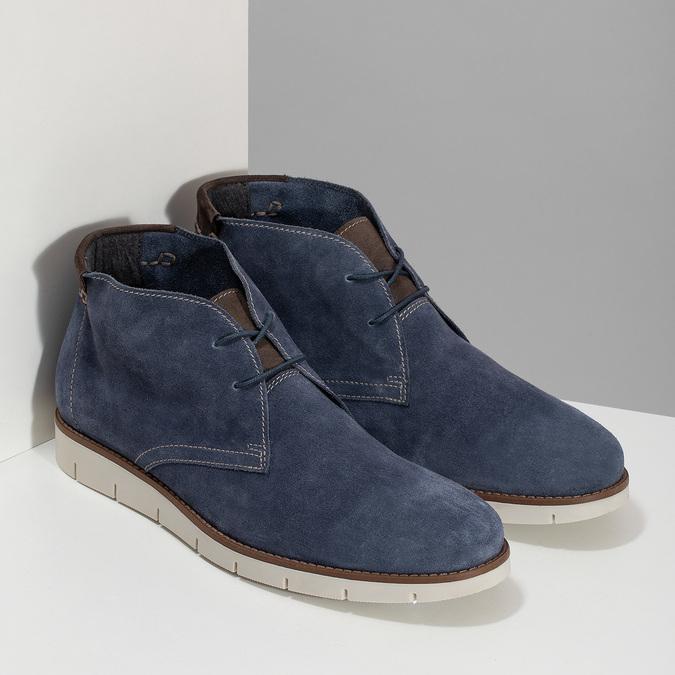 Tmavomodrá pánska kožená Desert Boots obuv flexible, modrá, 823-9636 - 26