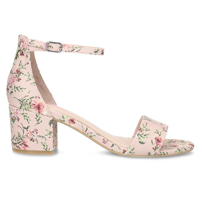 Ružové sandále na podpätku s kvetinovým vzorom bata-red-label, ružová, 661-5615 - 19