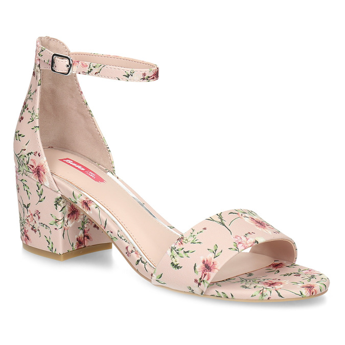 Ružové sandále na podpätku s kvetinovým vzorom bata-red-label, ružová, 661-5615 - 13