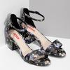 Čierne sandále na podpätku s kvetinovým vzorom bata-red-label, viacfarebné, 661-6615 - 26