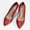 Červené kožené dámske lodičky na ihličkovom podpätku insolia, červená, 724-5661 - 16