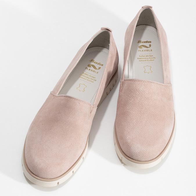 Kožené dámske mokasíny ružové flexible, ružová, 513-5609 - 16