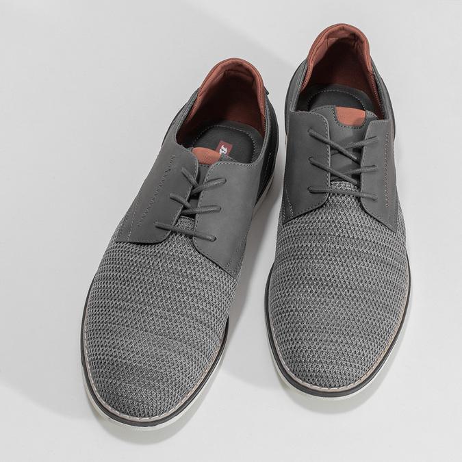 Pánske ležérne šedé Derby poltopánky bata-red-label, šedá, 821-2608 - 16