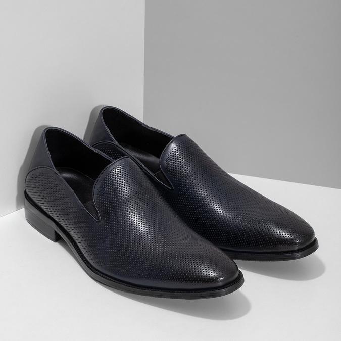 Pánske Loafers s perforáciou kožené bata, modrá, 816-9600 - 26