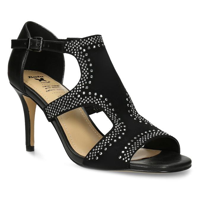 802dfb8de4e02 Čierne dámske sandále na podpätku s kamienkami insolia, čierna, 729-6639 -  13