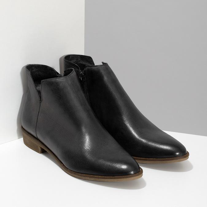 Čierne kožené členkové čižmy bata, čierna, 526-6666 - 26