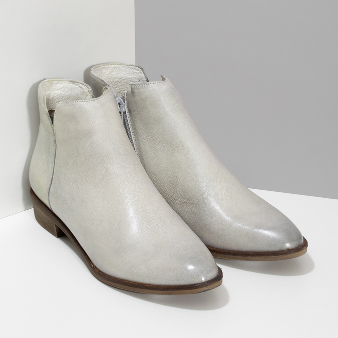 Kožené dámske členkové čižmy bata, šedá, 526-1666 - 26