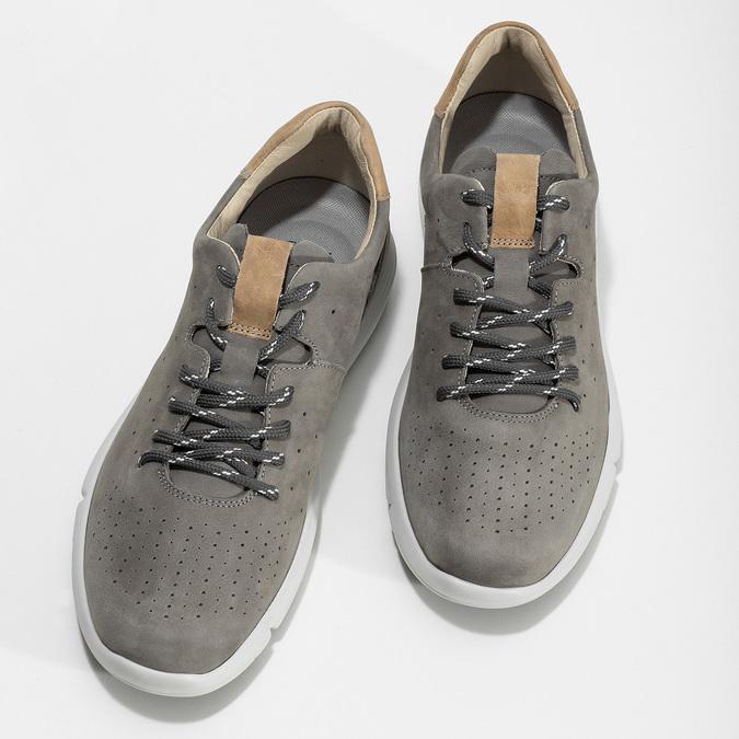 Pánske šedé kožené tenisky s perforáciou bata-light, šedá, 846-2722 - 16