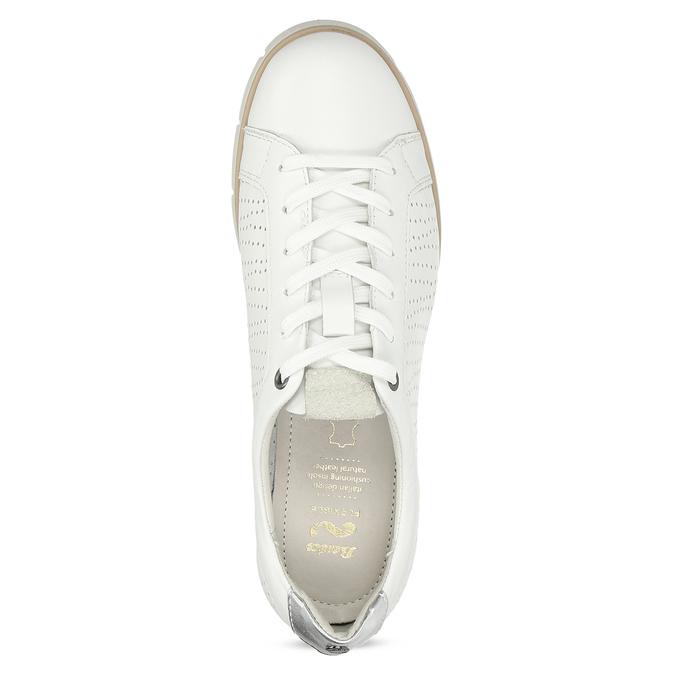 Biele kožené dámske tenisky s perforáciou flexible, biela, 524-1606 - 17