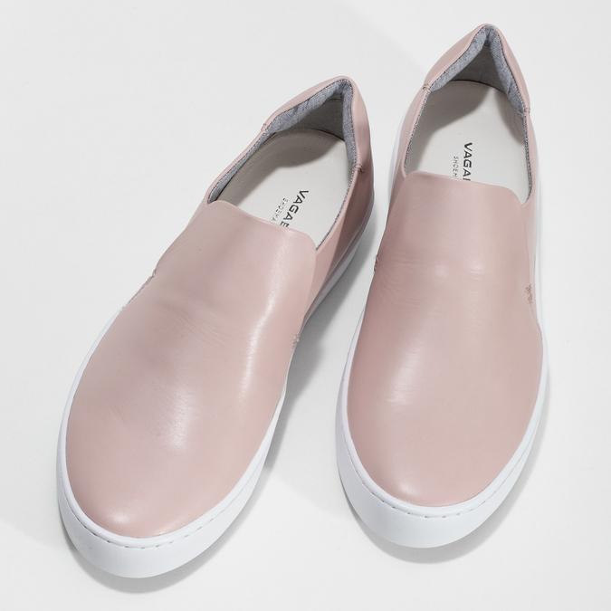 Ružová dámska kožená Slip-on obuv vagabond, ružová, 616-8079 - 16