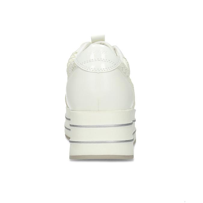 Biele dámske tenisky na vysokej flatforme bata-light, biela, 621-1656 - 15
