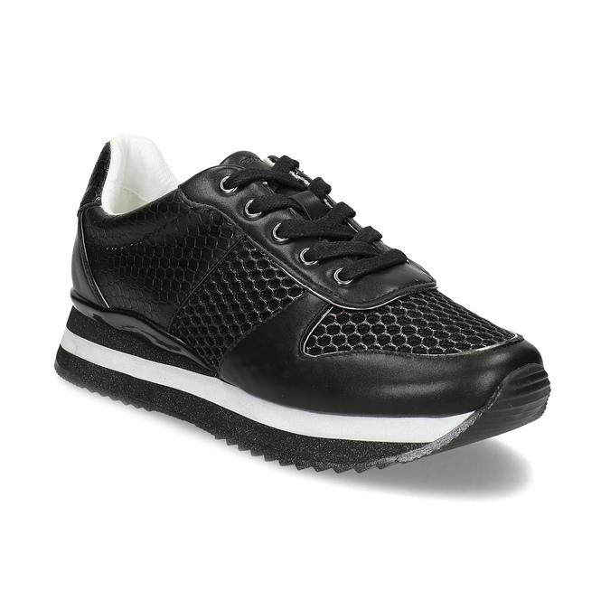 Čierne dámske tenisky s výraznou podrážkou bata-light, čierna, 521-6647 - 13