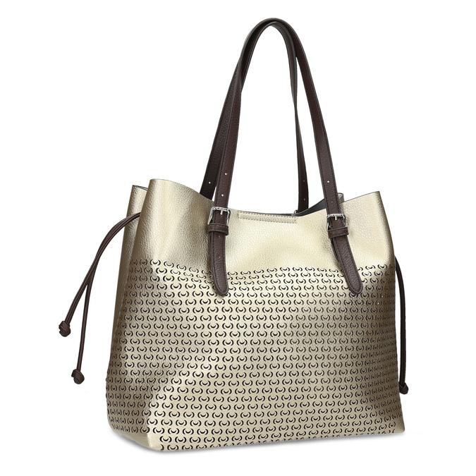 Zlatá dámska kabelka s perforáciou bata, zlatá, 961-8866 - 13
