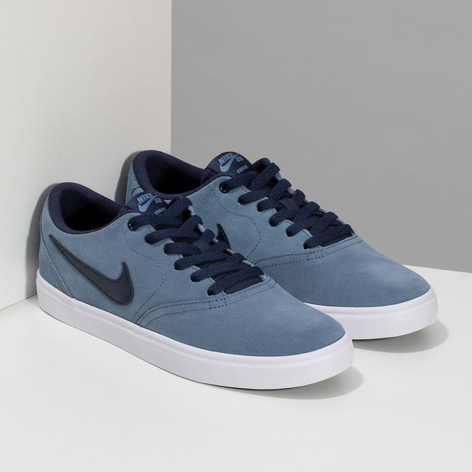 Modré pánske tenisky z brúsenej kože nike, modrá, 803-9106 - 26