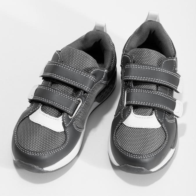 Šedé tenisky na suchý zips detské mini-b, šedá, 319-2163 - 16