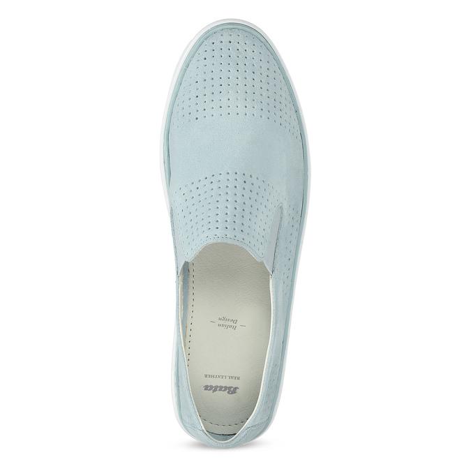 Dámske kožené Slip-on svetlomodré bata, modrá, 533-9601 - 17