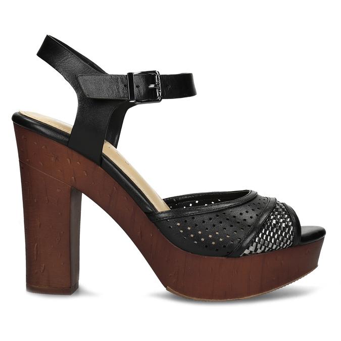 Dámske čierne sandále na prírodnej platforme insolia, čierna, 761-6645 - 19
