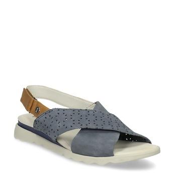 Kožené dámske modré sandále s perforáciou comfit, modrá, 566-9610 - 13