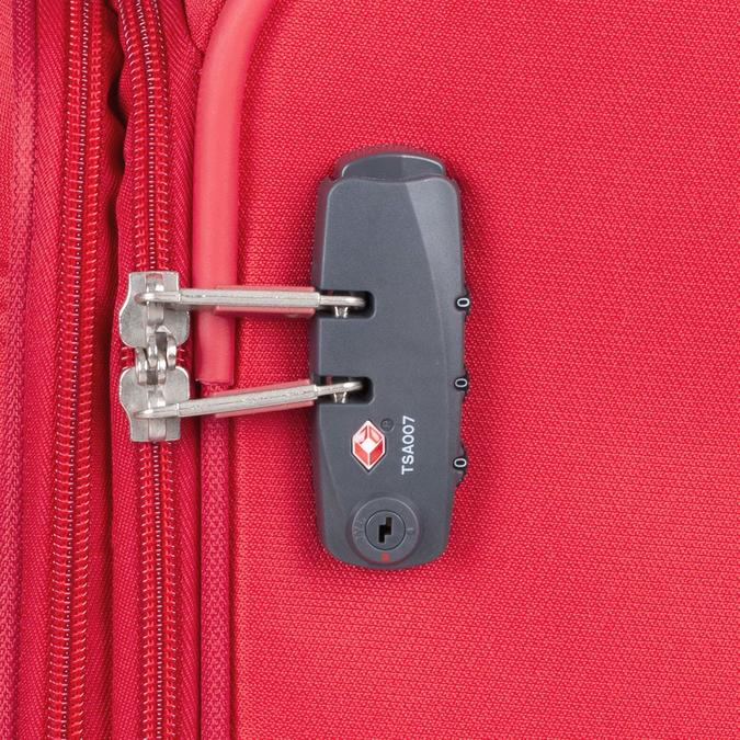 Červený stredný textilný kufor samsonite, červená, 960-5039 - 16