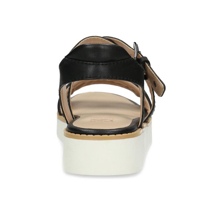 Čierne dámske kožené sandále na svetlej podrážke flexible, čierna, 563-6601 - 15