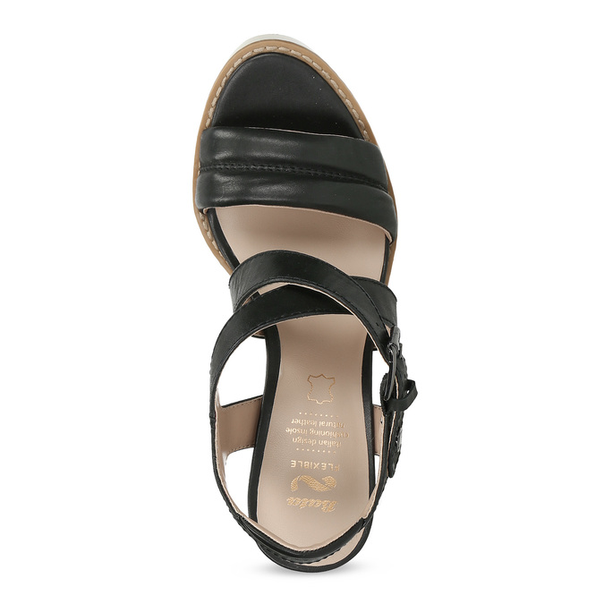 Kožené čierne sandále na prírodnom podpätku flexible, čierna, 763-6631 - 17