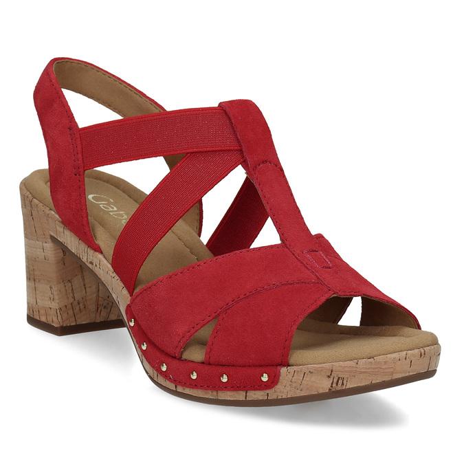 ccdb39a066 Gabor Červené dámske sandále z brúsenej kože - Na podpätku