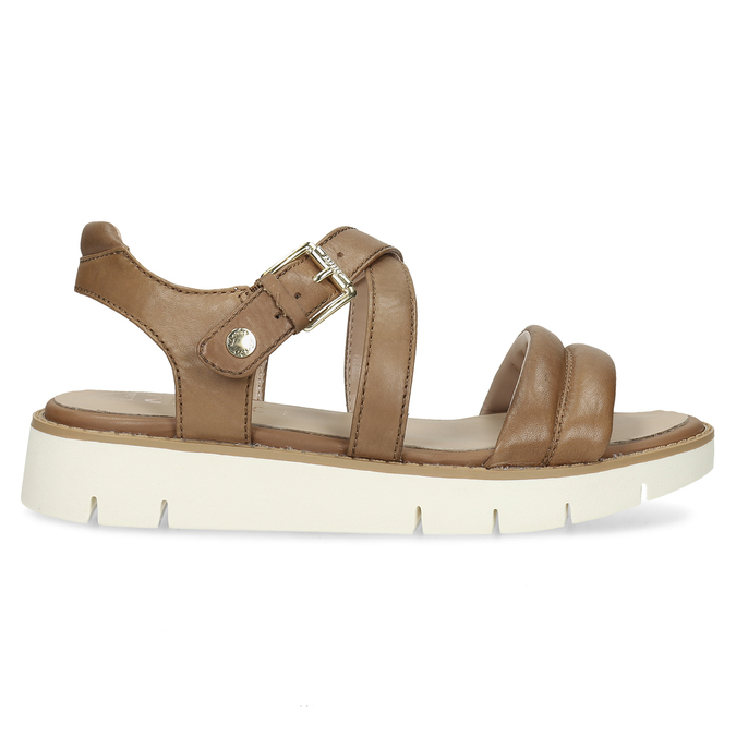 Dámske kožené sandále na svetlej podrážke flexible, hnedá, 563-4601 - 19