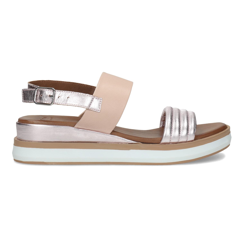 eb16e65dec04 Bata Kožené sandále na kline strieborné - Klinový podpätok