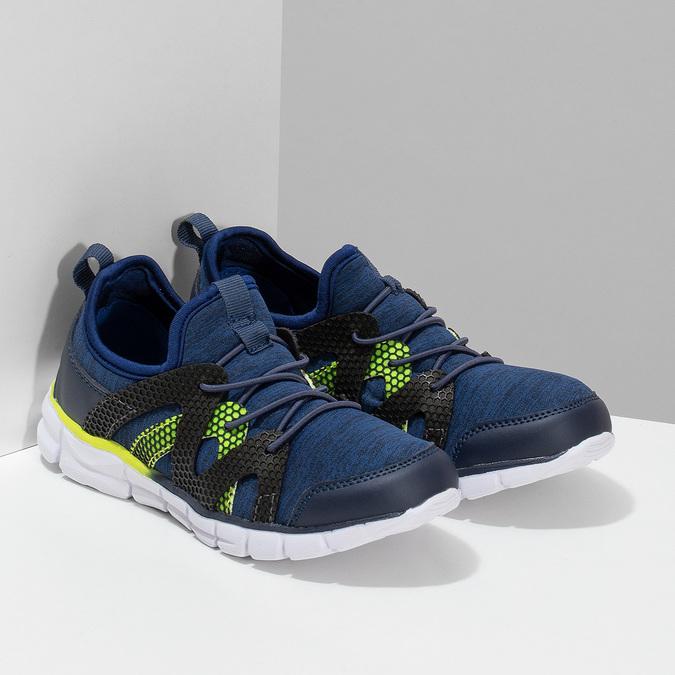 Modré detské tenisky s neonovým detailom mini-b, modrá, 319-9396 - 26