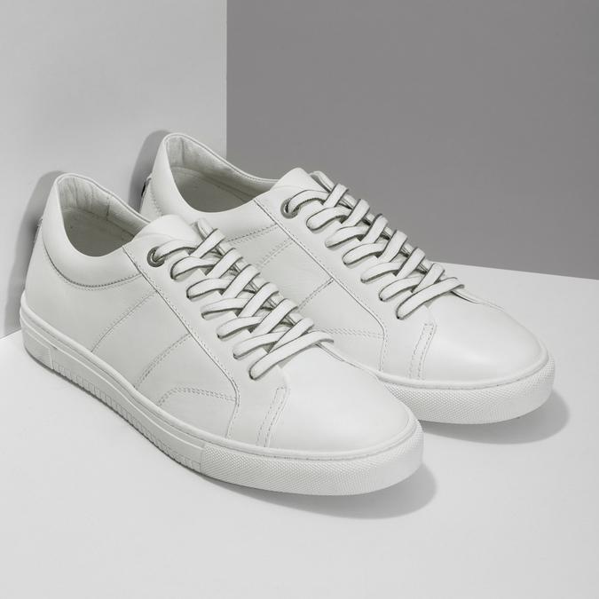 Biele kožené pánske tenisky bata, biela, 844-1649 - 26