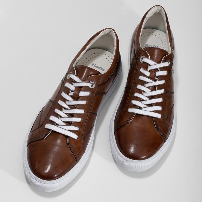 Kožené hnedé tenisky pánske bata, hnedá, 846-3649 - 16