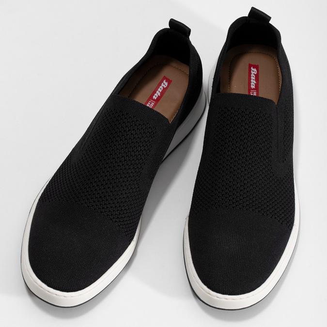 Čierne pánske tenisky z úpletu bata-red-label, čierna, 839-6605 - 16