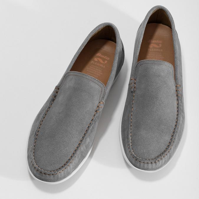 Šedé pánske ležérne mokasíny z brúsenej kože flexible, šedá, 853-2619 - 16