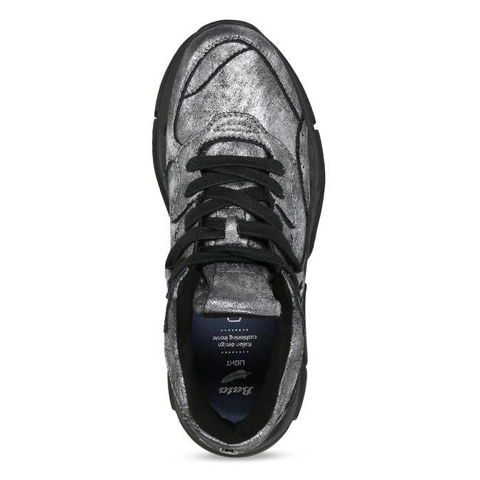 Strieborné dámske tenisky v Chunky štýle bata-light, strieborná, 641-4601 - 17