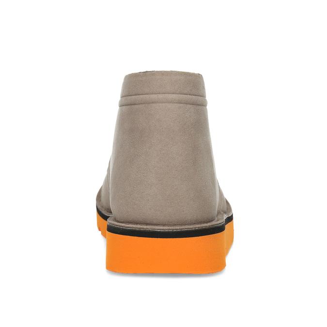 Členková pánska obuv s oranžovou podrážkou bata-b-flex, šedá, 899-8600 - 15