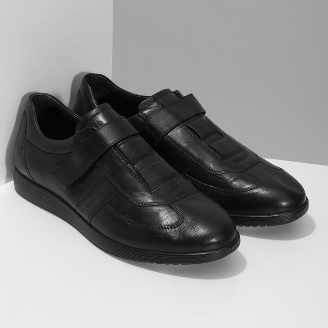 Pánska kožená obuv na suchý zips bata, čierna, 824-6666 - 26