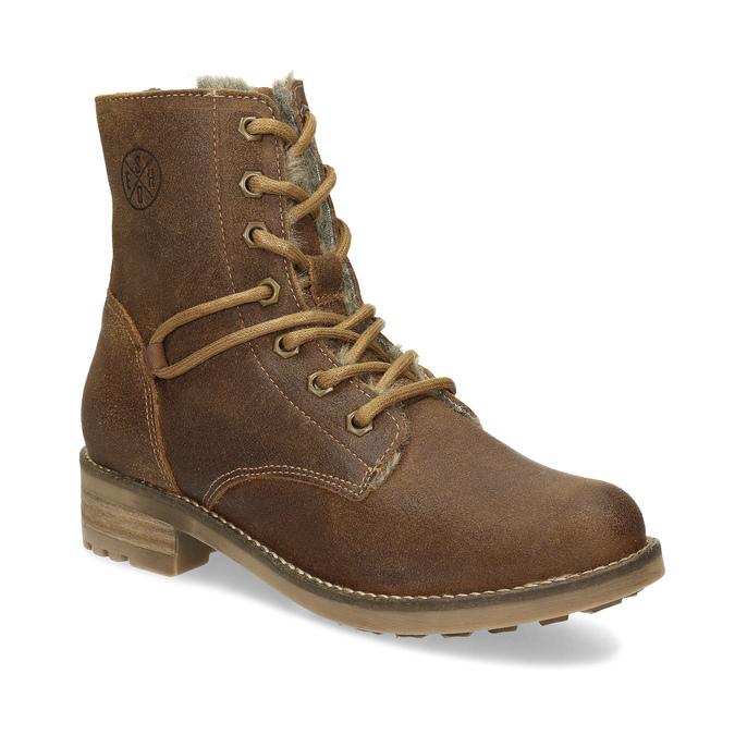 Hnedá detská kožená členková obuv bullboxer, hnedá, 323-3602 - 13