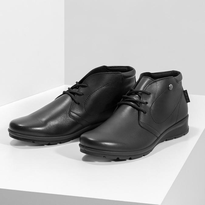 Členková čierna kožená dámska obuv comfit, čierna, 594-6707 - 16