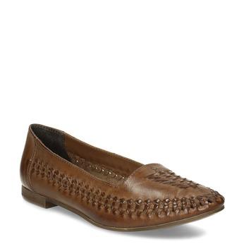 Dámske hnedé kožené mokasíny s prepletením bata, hnedá, 524-4607 - 13