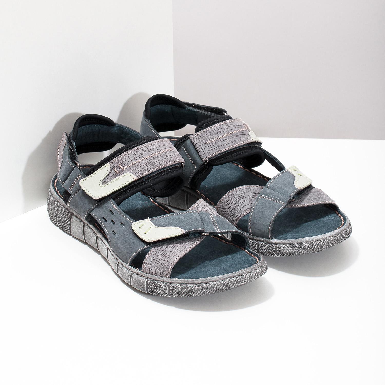 d25a418b5e32 Bata Modré kožené pánske sandále na suchý zips - Muži