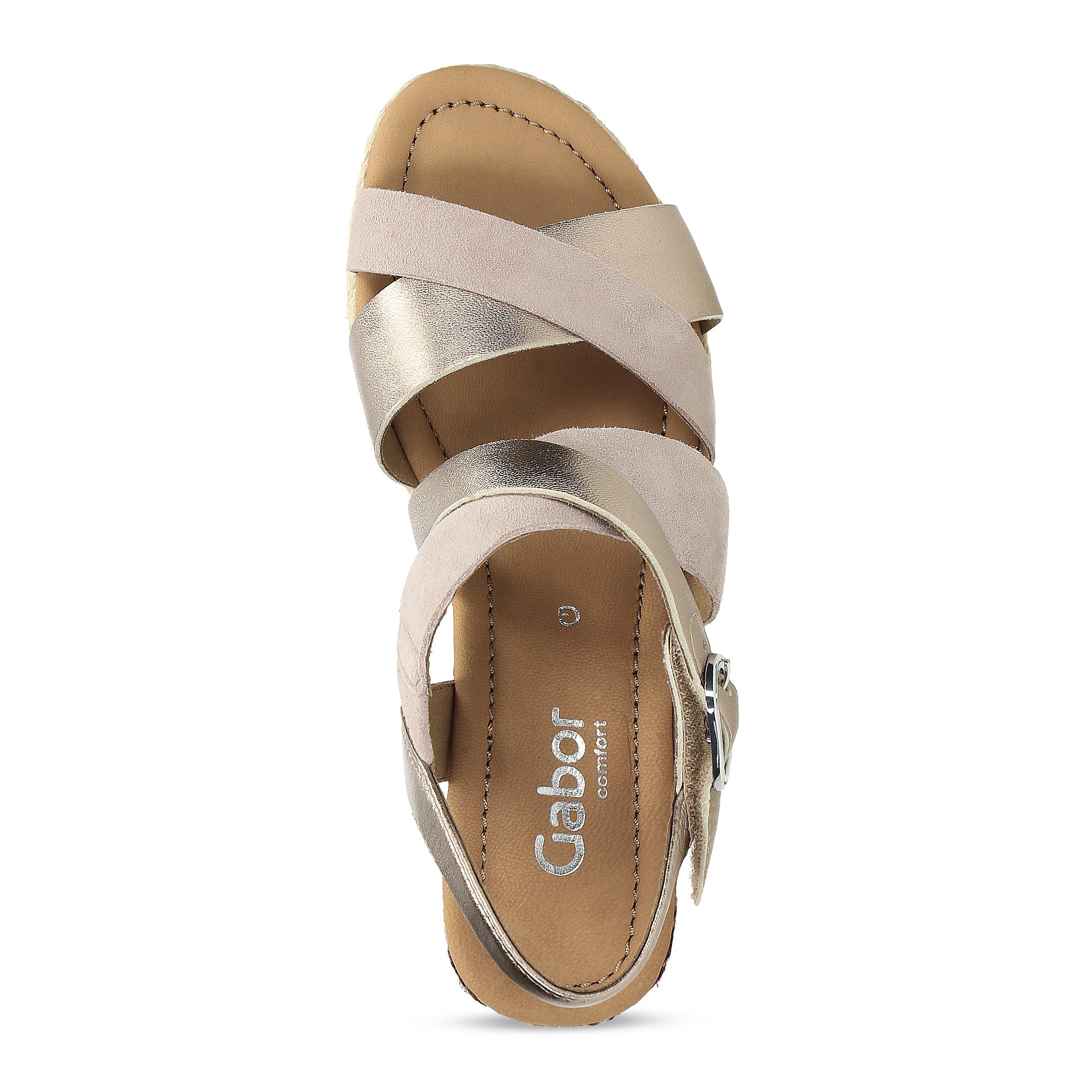 8263871231e23 ... Zlaté kožené sandále na vzorovanej platforme gabor, zlatá, béžová, ...