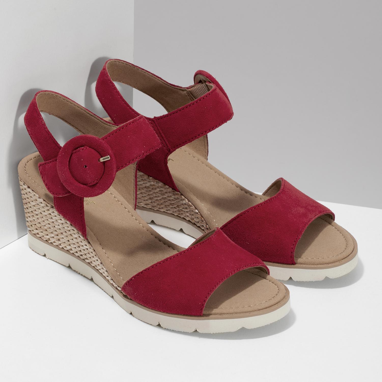 62effd5333231 ... Kožené červené sandále na prírodnej platforme gabor, červená, 663-5606  - 26 ...